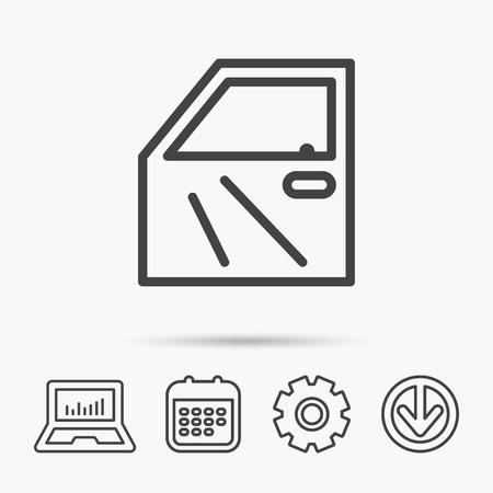 Car door icon. Automobile lock sign. Notebook, Calendar and Cogwheel signs. Download arrow web icon. Vector