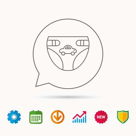 incontinence: Diaper with car icon. Child underwear sign. Newborn protection symbol. Calendar, Graph chart and Cogwheel signs. Download and Shield web icons. Vector