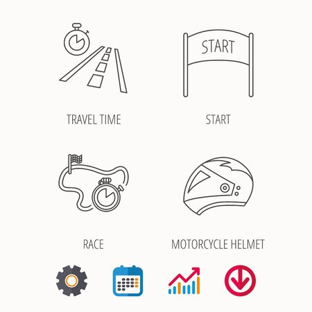 Motorcycle helmet, race timer and travel time icons. Start race linear sign. Calendar, Graph chart and Cogwheel signs. Download colored web icon. Vector Illustration