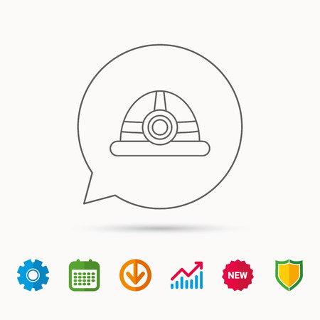 Engineering icon. Engineer or worker helmet sign. Calendar, Graph chart and Cogwheel signs. Download and Shield web icons. Vector Illustration