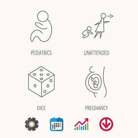 妊娠、小児科とサイコロのアイコン。無人の線形符号。予定表、グラフおよび歯車記号。色の web アイコンをダウンロードしてください。ベクトル