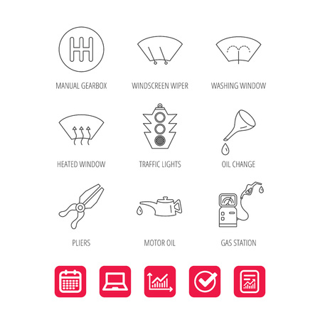 Motor oil change, traffic lights and pliers icons. Gas station, heated window and manual gearbox linear signs. Washing window icons. Report document, Graph chart and Calendar signs. Vector Illustration