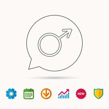 Mannelijk pictogram. Heren seksualiteit teken. Kalender-, grafiek- en tandradborden. Webpictogrammen downloaden en beveiligen. Vector Stockfoto - 88137720
