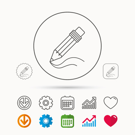Pencil icon. Drawing tool sign. Study equipment. Calendar, Graph chart and Cogwheel signs. Download and Heart love linear web icons. Vector
