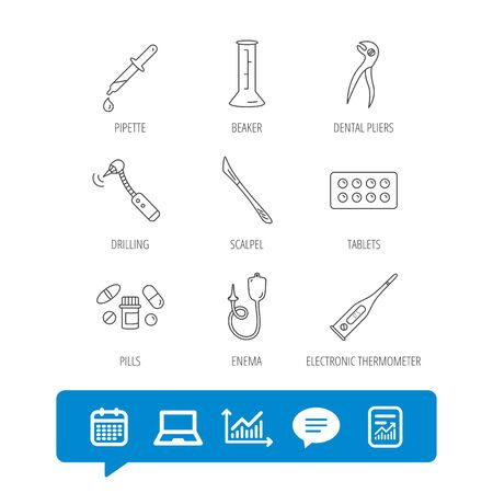 Thermometer, pills and dental pliers icons. Tablets, drilling tool and beaker linear signs. Enema, scalpel and pipette drop flat line icons. Report file, Graph chart and Chat speech bubble signs