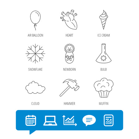 Newborn, heart and lab bulb icons. Ice cream, muffin and air balloon linear signs. Cloud and snowflake flat line icons. Report file, Graph chart and Chat speech bubble signs. Vector