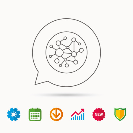 Global network icon. Social connections sign. Calendar, Graph chart and Cogwheel signs. Download and Shield web icons. Vector Illusztráció