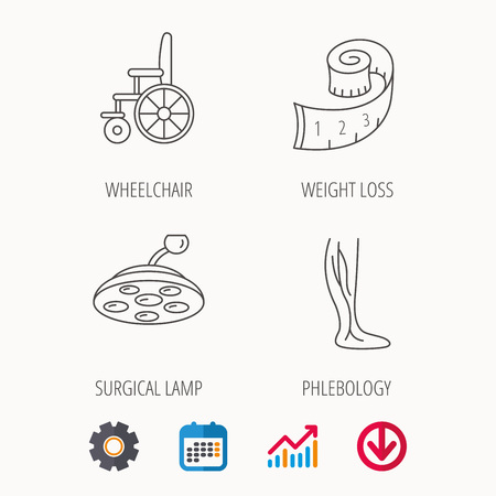 Weight loss, wheelchair and vein varicose icons. Surgical lamp and phlebology linear signs. Calendar, Graph chart and Cogwheel signs. Download colored web icon. Vector