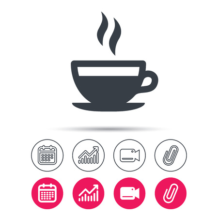 Coffee cup icon. Hot tea drink symbol. Statistics chart, calendar and video camera signs. Attachment clip web icons. Vector Illustration
