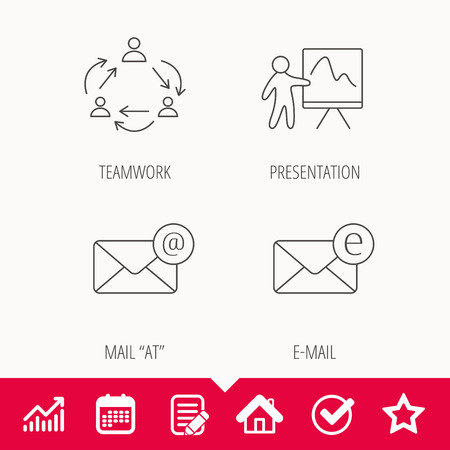 Teamwork, presentation and e-mail icons. E-mail inbox linear sign. Edit document, Calendar and Graph chart signs. Star, Check and House web icons. Vector