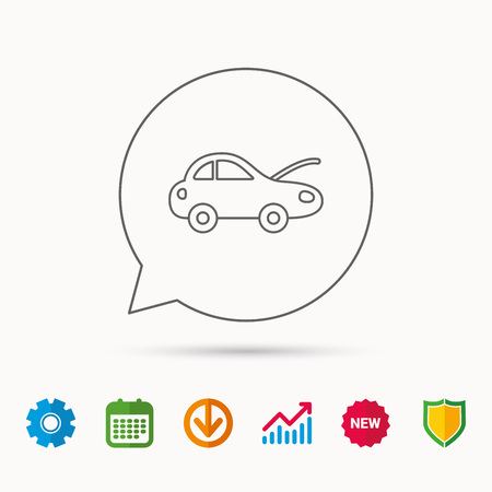 Car repair icon. Mechanic service sign. Calendar, Graph chart and Cogwheel signs. Download and Shield web icons. Vector 向量圖像