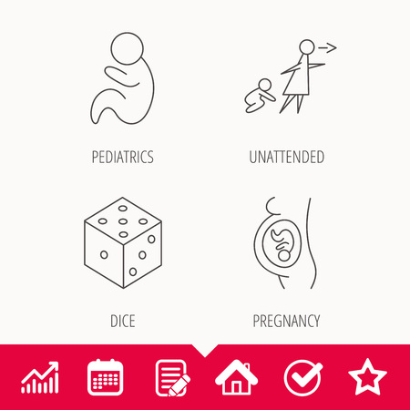 妊娠、小児科とサイコロのアイコン。無人の線形符号。カレンダーとグラフ グラフ署名文書を編集します。スター、チェックし、家の web アイコン  イラスト・ベクター素材
