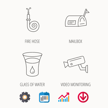 Mailbox, video monitoring and fire hose icons. Glass of water linear sign. Calendar, Graph chart and Cogwheel signs. Download colored web icon. Vector Illustration
