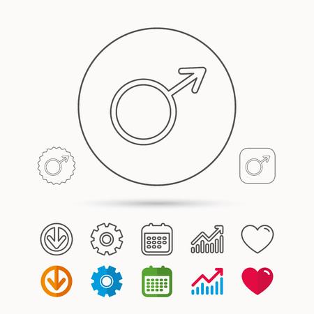Mannelijk pictogram. Heren seksualiteit teken. Kalender-, grafiek- en tandradborden. Download en Heart love lineaire web iconen. Vector Stockfoto - 88141623