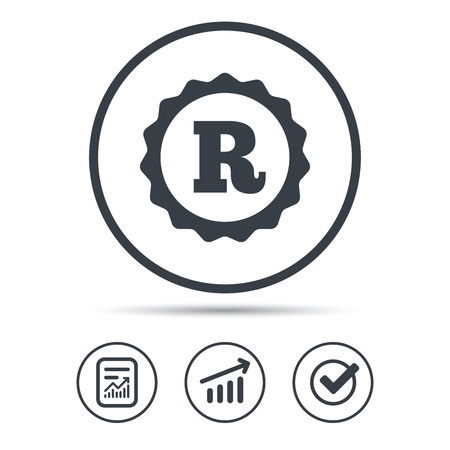Registered trademark icon. Intellectual work protection symbol. Report document, Graph chart and Check signs. Circle web buttons. Vector