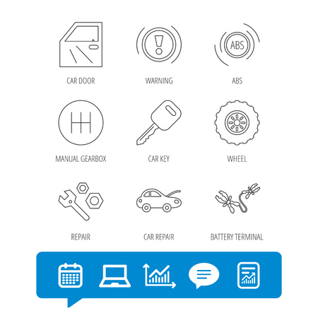 Car key, repair tools and manual gearbox icons. Wheel, warning ABS and battery terminal linear signs. Report file, Graph chart and Chat speech bubble signs. Laptop and Calendar web icons. Vector