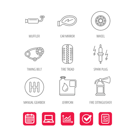 Wheel, car mirror and timing belt icons. Fire extinguisher, jerrycan and manual gearbox linear signs. Muffler, spark plug icons. Report document, Graph chart and Calendar signs. Vector Illustration