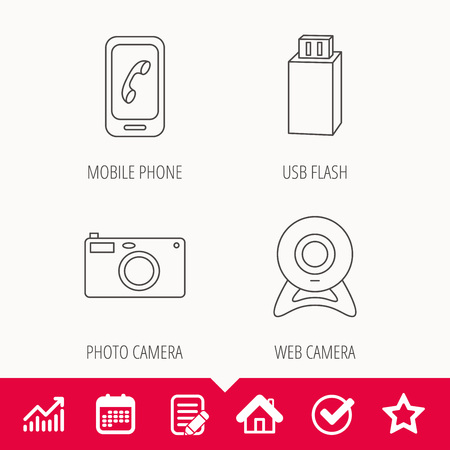 Photo camera, mobile phone and flash icons.