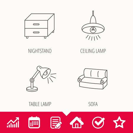 Sofa, table lamp and nightstand icons. Ceiling lamp linear sign, edit document, calendar and graph chart signs. Star, check and house web icons vector.