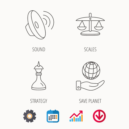Strategy, sound and scales of justice icons. Save planet linear sign. Calendar, Graph chart and Cogwheel signs. Download colored web icon. Vector