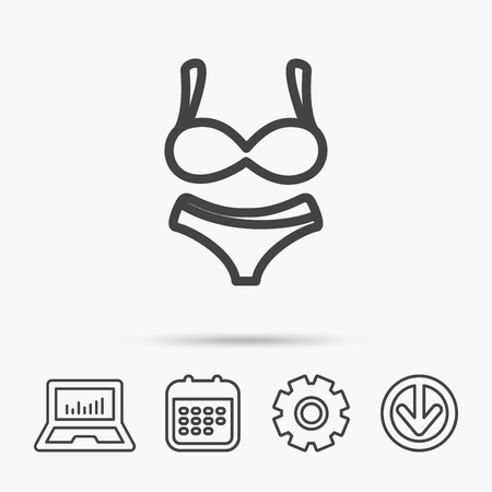 Lingerie icon, women underwear sign. Notebook, calendar and cogwheel signs. Download arrow web icon vector.