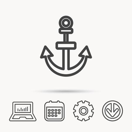 Icona di ancoraggio. Segno di drogue nautico.