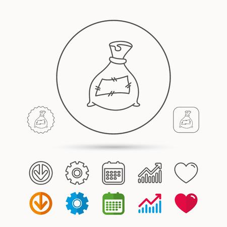 Tasche mit Düngersymbol, Befruchtungssack Zeichen. Landwirtschafts- oder Landwirtschaftssymbol, Kalender, Diagrammdiagramm und Zahnradzeichen. Download und Herz, Liebeslinearer Netzikonenvektor. Vektorgrafik
