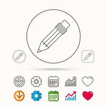 Pencil icon. Calendar, Graph chart and Cogwheel signs.