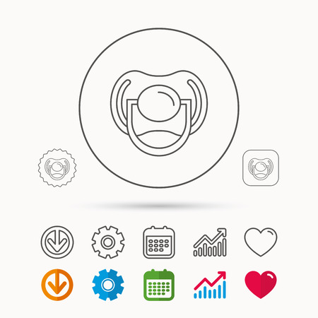 Pacifier icon. Nipple or dummy sign. Newborn child relax equipment symbol. Calendar, Graph chart and Cogwheel signs. Download and Heart love linear web icons.