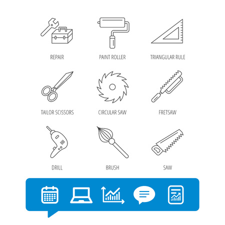 Scissors, paint roller and repair tools icons. Fretsaw, circular saw and brush linear signs. Triangular rule, drill icons, report file, graph chart and chat speech bubble signs vector. Illusztráció