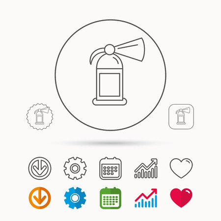 Fire extinguisher icon, flame protection sign. Calendar, graph chart and cogwheel signs. Download and heart, love linear web icons vector. Stock Illustratie
