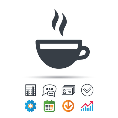 Coffee cup icon, hot tea drink symbol. Statistics chart, chat speech bubble and contacts signs. Check web icon vector.