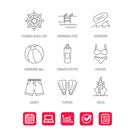 Surfboard, swimming pool and trunks icons. Beach ball, lingerie and shorts linear signs. Flippers, cruise ship and shampoo icons. Report document, Graph chart and Calendar signs.