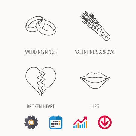 Broken heart, kiss and wedding rings icons. Valentine amour arrows linear sign. Calendar, Graph chart and Cogwheel signs. Download colored web icon.