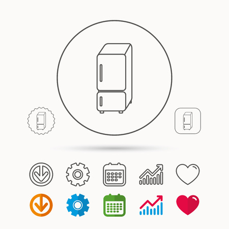 Refrigerator icon. Fridge sign. Calendar, Graph chart and Cogwheel signs. Download and Heart love linear web icons. Vector 向量圖像
