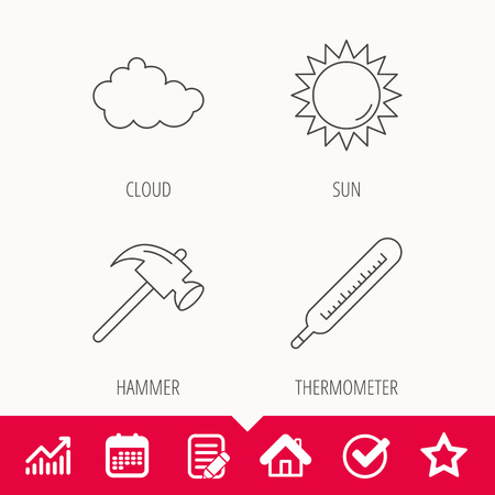 Cloud, sun and thermometer icons. Hammer linear sign.