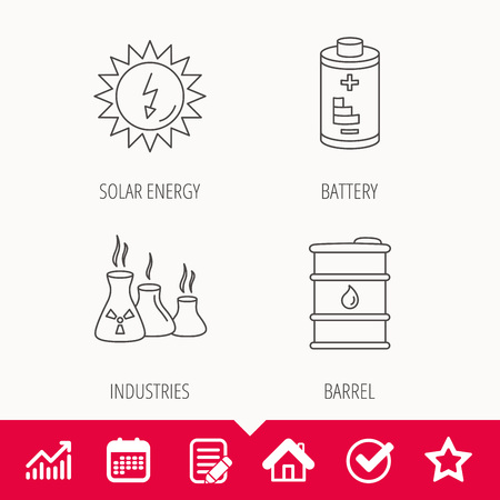Solar energy, battery and oil barrel icons. Illustration