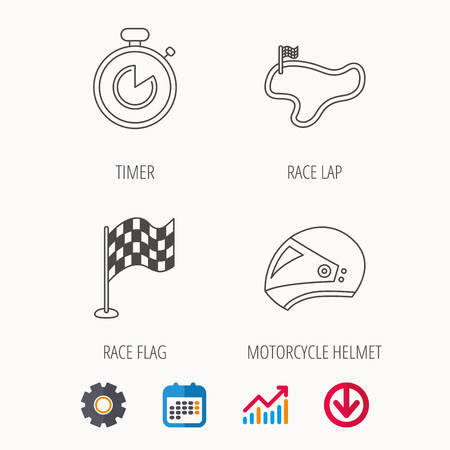 Race flag, timer and motorcycle helmet icons. Race lap linear sign. Calendar, Graph chart and Cogwheel signs. Download colored web icon. Vector Illustration