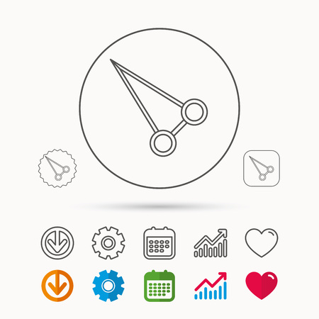 Pean forceps icon. Medical surgery tool sign. Calendar, Graph chart and Cogwheel signs. Download and Heart love linear web icons. Vector