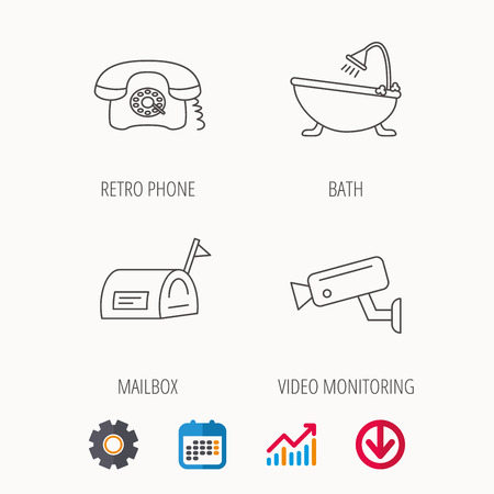 Retro phone, video camera and mailbox icons. Bath linear sign. Calendar, Graph chart and Cogwheel signs. Download colored web icon.
