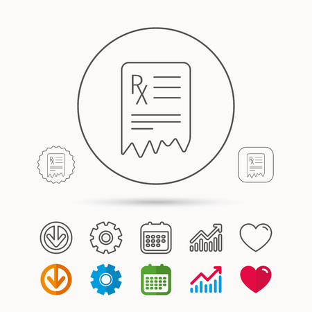 Medical prescription icon. Health document sign. Calendar, Graph chart and Cogwheel signs. Download and Heart love linear web icons.