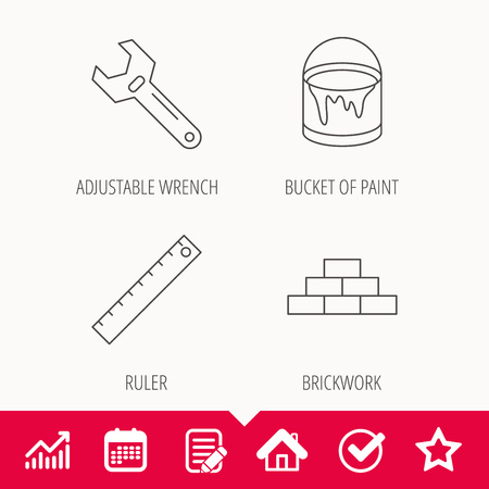 Brickwork, measurement and adjustable wrench icons. Bucket of paint linear sign. Edit document, Calendar and Graph chart signs. Star, Check and House web icons.