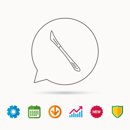 Scalpel icon. Surgeon tool sign. Calendar, Graph chart and Cogwheel signs. Download and Shield web icons. Illusztráció