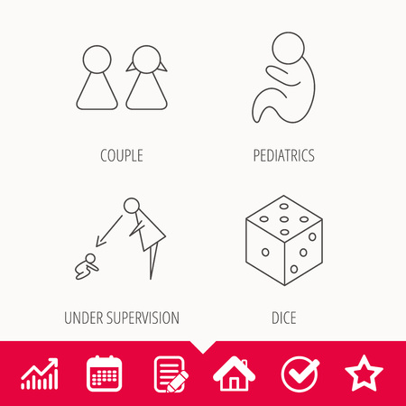 Couple, pediatrics and dice icons. Under supervision linear sign. Edit document, Calendar and Graph chart signs. Star, Check and House web icons.