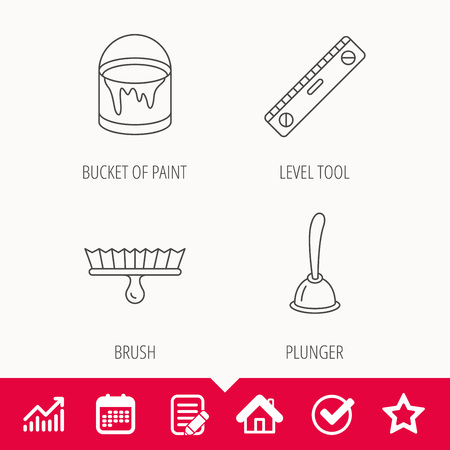 Level tool, plunger and brush tool icons. Bucket of paint linear sign. Edit document, Calendar and Graph chart signs. Star, Check and House web icons.