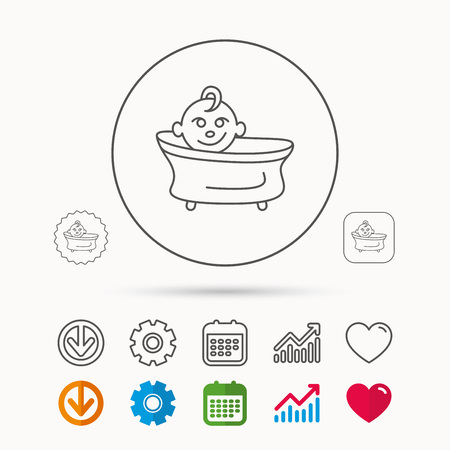Baby in bath icon. Toddler bathing sign. Newborn washing symbol. Calendar, Graph chart and Cogwheel signs. Download and Heart love linear web icons. Vector Illustration
