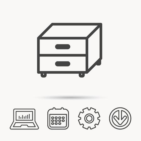 Nightstand icon. Bedroom furniture sign. Notebook, Calendar and Cogwheel signs. Download arrow web icon. Vector