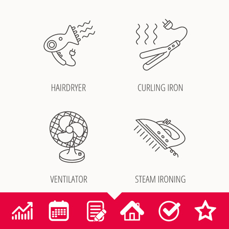Steam ironing, curling iron and hairdryer icons.