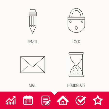 Mail envelope, pencil and lock icons. Hourglass linear sign. Illustration