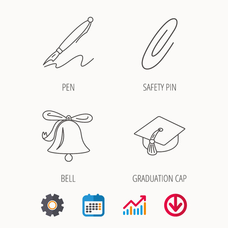 Graduation cap, pen and bell icons. Safety pin linear signs. Calendar, Graph chart and Cogwheel signs. Download colored web icon. Vector